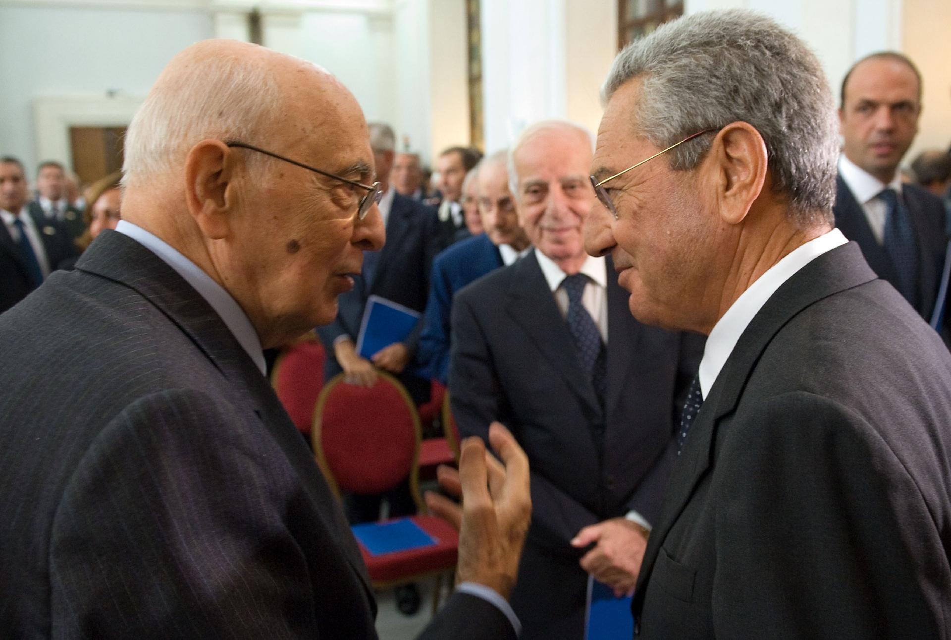Il Presidente Giorgio Napolitano con l'Avvocato Generale dello Stato, Ignazio Francesco Caramazza