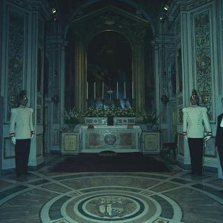 Cerimonia del Battesimo del piccolo Pietro Santacatterina, nipote del Presidente della Repubblica Saragat, officiato dal cardinale Eugenio Tisserant, Decano del Sacro Collegio