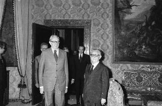 Incontro del Presidente della Repubblica Giovanni Leone con Henry Simonet, Presidente di turno del Consiglio dei ministri della CEE e Ministro degli esteri del Belgio