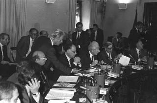 Intervento del Presidente della Repubblica Francesco Cossiga alla riunione del Consiglio Superiore della Magistratura. Roma, Palazzo dei Marescialli