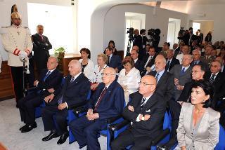 Un momento della cerimonia d'inaugurazione della nuova sede dell'Archivio Storico della Presidenza della Repubblica, alla presenza del Capo dello Stato