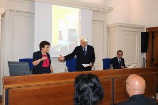 Un momento della cerimonia d'inaugurazione della nuova sede dell'Archivio Storico della Presidenza della Repubblica. Nella foto la Prof.ssa Paola Carucci, il Dott. Donato Marra e il Prof. Giovanni Sabbatucci