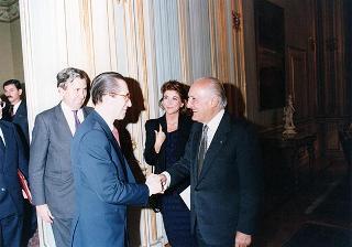 Incontro del Presidente della Repubblica Oscar Luigi Scalfaro con Willy Claes, vice primo Ministro e Ministro degli affari esteri del Regno del Belgio