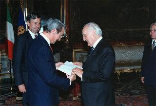 Reginald Bartholomew, nuovo ambasciatore degli Stati Uniti: presentazione di lettere credenziali