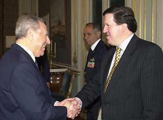 Il Presidente Ciampi riceve al Quirinale il Segretario generale della NATO Lord George Robertson.