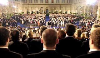 Un'immagine del concerto durante l'Inno Nazionale all'interno del Cortile d'Onore del Palazzo del Quirinale in occasione della Festa della Repubblica.