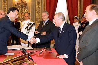 Giuramento del Ministro per la Funzione Pubblica e per il coordinamento dei servizi di informazione e sicurezza Franco Frattini.
