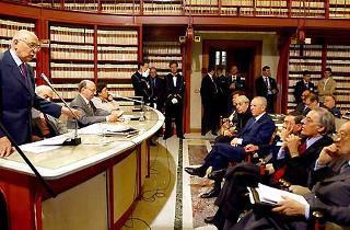 """Un momento dei lavori del convegno su """"Paolo Bufalini """" alla presenza del Capo dello Stato Carlo Azeglio Ciampi"""