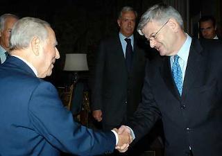 Il Presidente Ciampi accoglie, nel suo studio, Joschka Fischer, Ministro degli affari Esteri della Repubblica Federale di Germania.