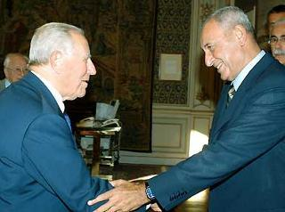 Il Presidente Ciampi con Nabih Berri, Presidente del Parlamento Libanese.
