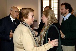 Il Presidente Giorgio Napolitano e la moglie Clio con i famliari del Maestro Gillo Pontecorvo alla Camera ardente in Campidoglio