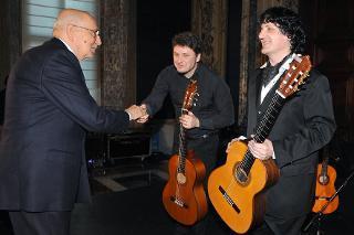 Il Presidente Napolitano in occasione del concerto eseguito dal Maestro Cañizares per i 25 anni della Fondazione Romaeuropa
