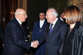 Il Presidente Giorgio Napolitano con il Ministro degli Affari Esteri e della Cooperazione di Spagna, Miguel Angel Moratinos, in occasione del concerto per la Presidenza spagnola dell'Unione Europea, nell'ambito delle iniziative per i 25 anni della Fondazione Romaeuropa Festival