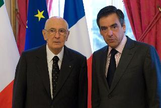 Il Presidente Giorgio Napolitano con il Primo Ministro della Repubblica Francese Francois Fillon