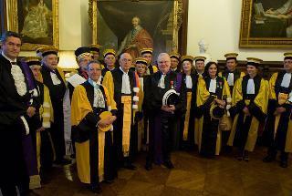 Il Presidente Giorgio Napolitano con il Presidente dell'Università Sorbonne-Paris IV George Molinié, il Rettore Patrick Gérard e i Presidi delle facoltà