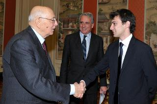 Il Presidente Giorgio Napolitano con Mattia Sogaro, Presidente del Consiglio Nazionale degli Studenti Universitari