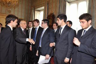 Il Presidente Giorgio Napolitano nel corso dell'incontro con il Consiglio Nazionale degli Studenti Universitari