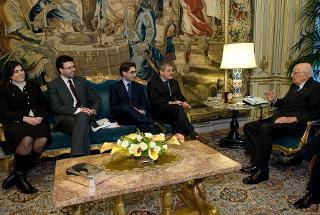 Il Presidente Giorgio Napolitano nel corso dei colloqui con il Presidente dell'ANCI, Sergio Chiamparino, e il Coordinatore Nazionale di ANCI Giovane Giacomo D'Arrigo