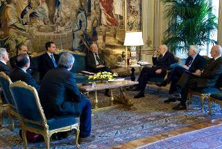 """Il Presidente Giorgio Napolitano in occasione dell'incontro con i promotori dell'appello """"Mezzogiorno su la testa!"""""""