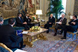 Il Presidente Giorgio Napolitano nel corso dell'incontro con una rappresentanza del Gruppo Barilla