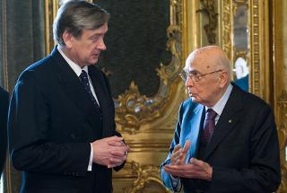 Il Presidente Giorgio Napolitano a colloquio con il Presidente della Repubblica di Slovenia Danilo Türk, in occasione della visita di Stato in Italia