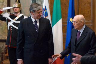 Il Presidente Giorgio Napolitano con il Presidente della Repubblica di Slovenia Danilo Türk, in occasione della visita di Stato in Italia