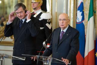 Il Presidente Giorgio Napolitano e il Presidente della Repubblica di Slovenia Danilo Türk nel corso dell'incontro con la stampa