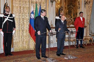 Il Presidente Giorgio Napolitano con il Signor Danilo Türk, Presidente della Repubblica Slovena in visita di Stato in Italia, durante le dichiarazione alla stampa