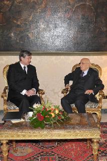 Il Presidente Giorgio Napolitano con il Signor Danilo Türk, Presidente della Repubblica Slovena durante i colloqui