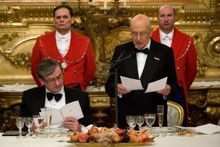 Il Presidente Giorgio Napolitano rivolge il suo indirizzo di saluto in occasione del pranzo ufficiale con il Presidente della Repubblica di Slovenia Danilo Turk