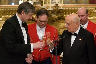 Il brindisi fra il Presidente Giorgio Napolitano e il Presidente della Repubblica di Slovenia Danilo Turk