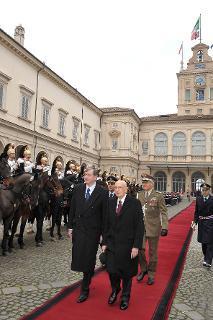 Il Presidente Giorgio Napolitano durante la cerimonia di congedo del Signor Danilo Türk, Presidente della Repubblica Slovena al termine della visita di Stato in Italia