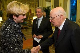 Il Presidente Giorgio Napolitano accoglie Federica Guidi, Presidente nazionale di Giovani di Confindustria e Vice Presidente di Confindustria, in occasione dell'incontro con i componenti il Consiglio di Presidenza