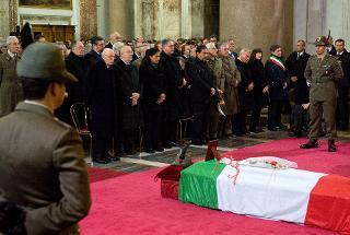 Il Presidente Giorgio Napolitano nel corso della celebrazione dei funerali dell'Alpino Luca Sanna, deceduto in Afghanistan