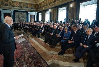 Il Presidente Giorgio Napolitano in occasione della celebrazione della Giornata dell'Informazione