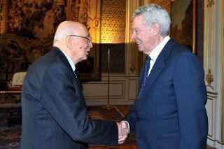 Il Presidente Giorgio Napolitano con Guido Albertelli, Presidente dell'Associazione Nazionale Perseguitati Politici Italiani Antifascisti