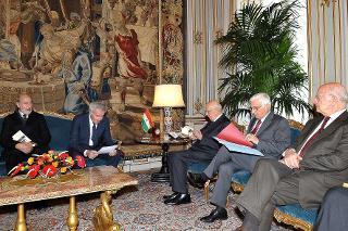 Il Presidente Giorgio Napolitano nel corso dell'incontro con il Comitato Esecutivo dell'Associazione Nazionale Perseguitati Politici Italiani Antifascisti