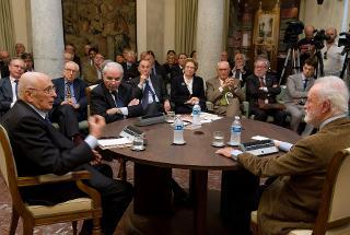 """Il Presidente Giorgio Napolitano con Eugenio Scalfari e Giuliano Amato, nel corso del dibattito sul tema""""Che cosa ci ha lasciato Antonio Giolitti?"""""""