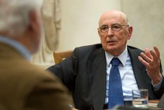 """Il Presidente Giorgio Napolitano nel corso del dibattito con Eugenio Scalfari, in occasione dell'incontro """"Una riflessione storica su Antonio Giolitti"""""""