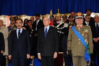 Il Presidente Giorgio Napolitano con il Ministro della Difesa Ignazio La Russa e il Capo di Stato Maggiore dell'Esercito Gen C.A. Giuseppe Valotto alla celebrazione del 150° anniversario della costituzione dell'Esercito Italiano