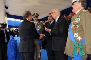 Il Presidente Giorgio Napolitano alla celebrazione del 150° anniversario della costituzione dell'Esercito Italiano