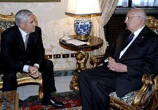 Il Presidente Giorgio Napolitano a colloquio con il Presidente del Senato Franco Marini nel suo studio alla Vetrata.