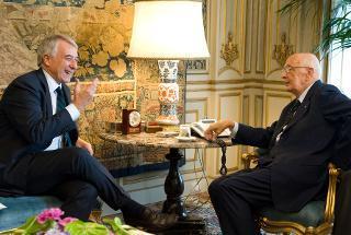 Il Presidente Giorgio Napolitano nel corso dei colloqui con il Sindaco di Milano Giuliano Pisapia
