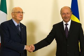 Il Presidente Giorgio Napolitano con il Presidente di Romania Traian Basescu