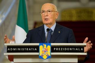 Il Presidente Giorgio Napolitano nel corso dell'incontro con la stampa, a margine dei colloqui con il Presidente di Romania Traian Basescu