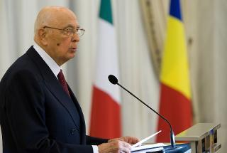 Il Presidente Giorgio Napolitano in occasione del pranzo di Stato a Palazzo Cotroceni