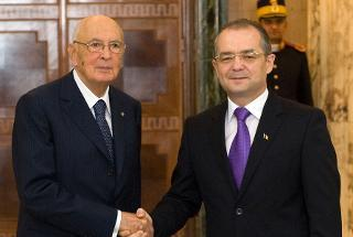 Il Presidente Giorgio Napolitano con il Primo Ministro di Romania Emil Boc