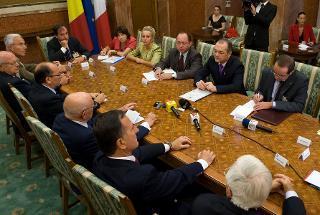 Il Presidente Giorgio Napolitano nel corso dei colloqui con il Primo Ministro di Romania Emil Boc