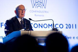 Il Presidente Giorgio Napolitano nel corso del seminario degli imprenditori italiani che operano in Romania