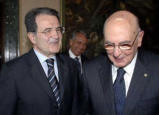 Il Presidente Giorgio Napolitano con l'On. Romano Prodi.